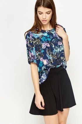 Multi Navy Floral Blouse