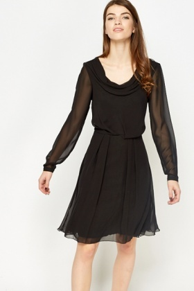 Sheer Overlay Skater Dress