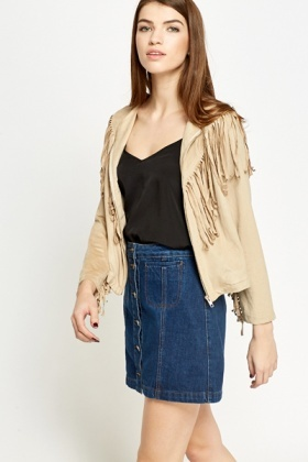 Suedette Fringed Trim Jacket