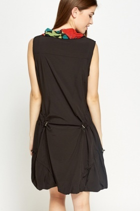 Zip Up Cowl Neck Dress