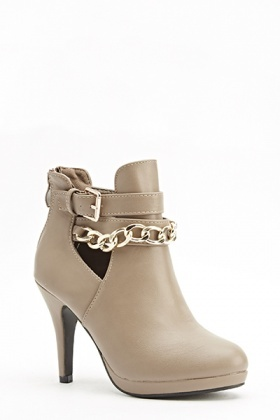 Chain Front Heeled Ankle Boots