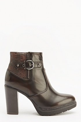 Faux Leather Insert Heeled Boots