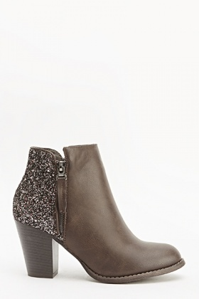 Glitter Back Brown Boots