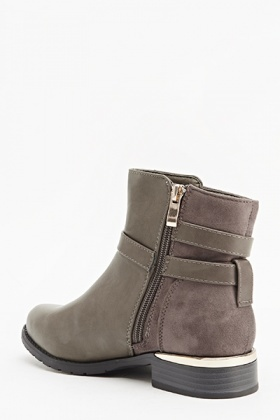 Grey Suedette Boots