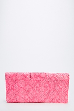 Mock Crock Large Buckle Front Clutch