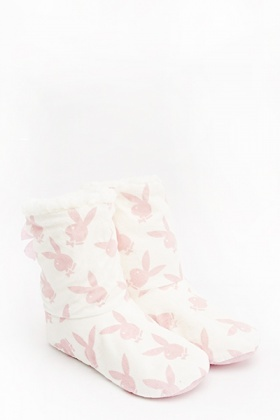Playboy Printed Slipper Boots