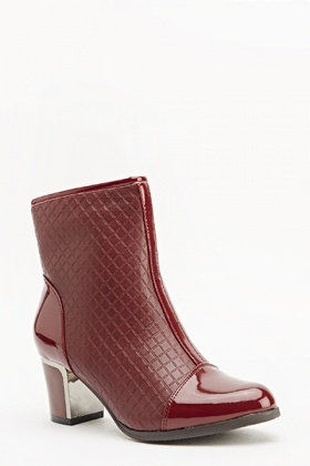 Quilted Contrast Low Heel Boots
