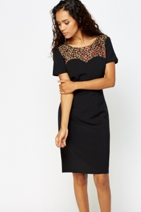 Contrast Neck Pencil Dress