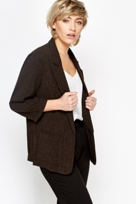 Dark Brown Pin Stripe Blazer