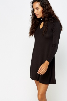 Keyhole Neck Swing Dress