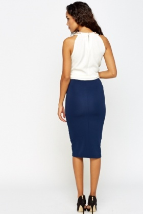 Lace Insert Pencil Skirt