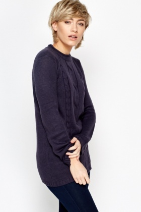 Round Neck Ribbed Trim Knit Jumper