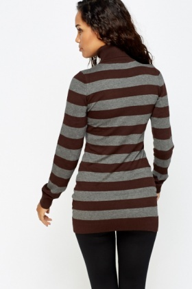 Striped Roll Neck Longline Jumper