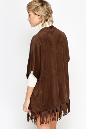 Suedette Fringed Crop Sleeve Jacket