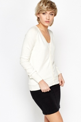 V-Neck Formal Knit Cardigan