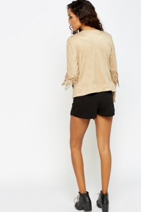 Fringed Detail Suedette Jacket