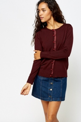 Knitted Contrast Button Front Cardigan