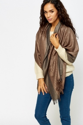Metallic Houndstooth Print Scarf