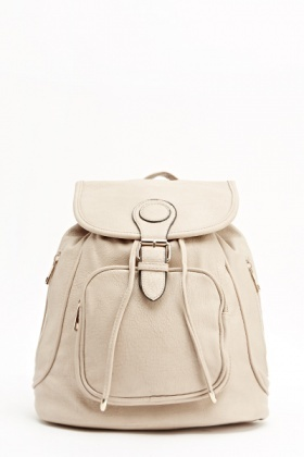 Beige Faux Leather Backpack