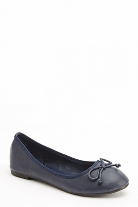 Bow Front Faux Leather Flats