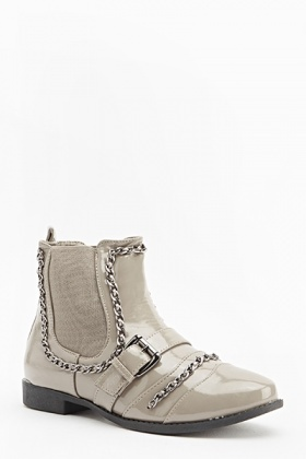 Chain Trim Patent Boots