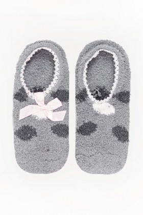 Polka Dot Contrast Slipper Socks