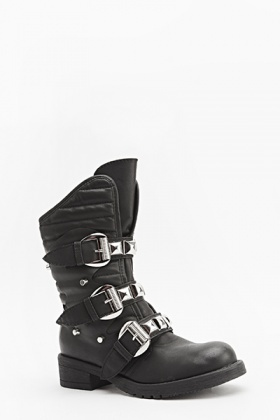 Quilted Studded Strap Boots