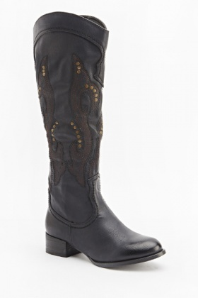 Studded Embroidered Flat Boots