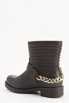 Studded Panel Chain Boots