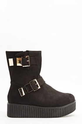 Twin Buckle Platform Boots