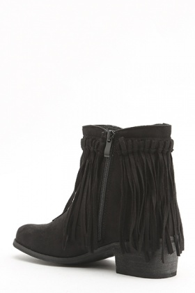 Woven Fringed Suedette Boots