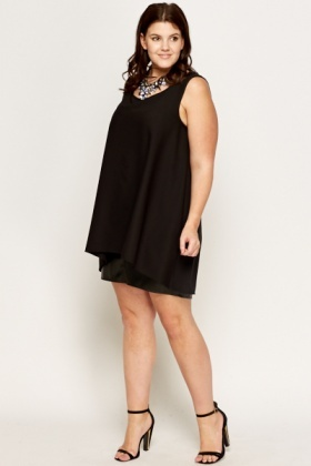 Black Flare Shift Dress