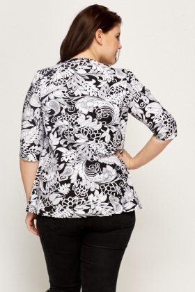 Black Floral Open Front Jacket