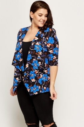 Black Open Front Floral Jacket