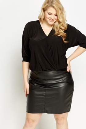 Black Ruched Bodysuit