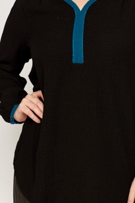 Black Teal Textured Tunic