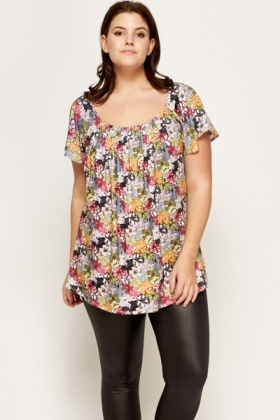 Green Floral Pattern Pleated Top