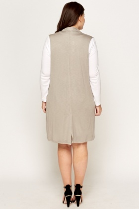 Grey Sleeveless Long Gilet