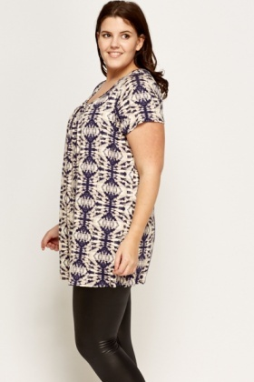Navy Pattern Flare Top