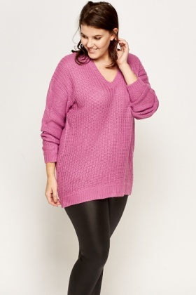 Purple Knitted Back Lace Up Jumper