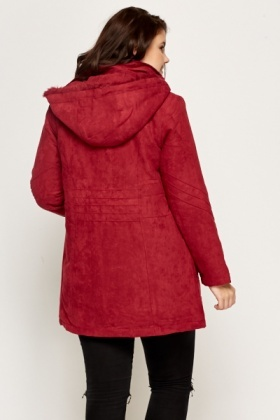 Wine Suedette Parker Coat