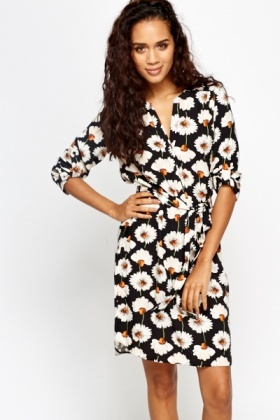 Black Shirt Daisy Print Dress