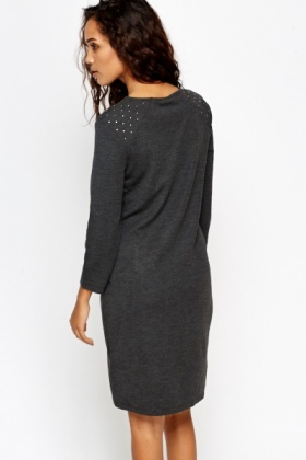 Dark Grey Studded Shoulder Bodycon Dress