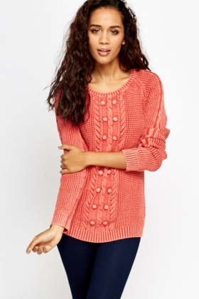 Knitted Washed Out Bobble Jumper