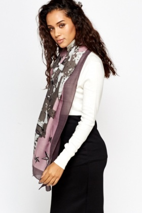 Lilac Print Fashion Scarf