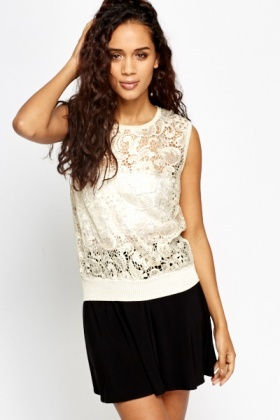 Metallic Knitted Mesh Shell Top