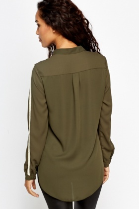 Olive Contrast Blouse