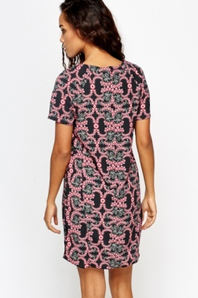 Pink Multi Pattern Shift Dress