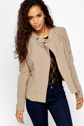 Textured Contrast Biker Jacket