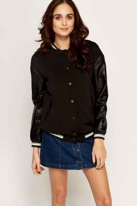 Contrast Faux Leather Bomber Jacket